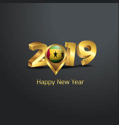 Happy new year 2019 golden typography with sao vector