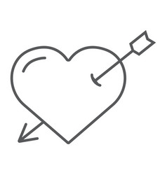 heart pierced with arrow thin line icon love and vector image