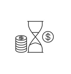 hourglass with penny vector image