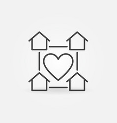 house buildings with heart linear icon staying vector image