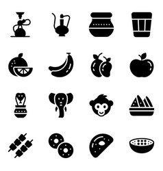Indian culture and accessories solid icons set vector