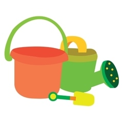 Isolated garden set toys vector image