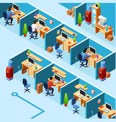 Isometric cubicle office plan coworking vector