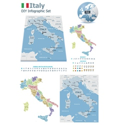 Italy maps with markers vector
