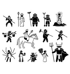 journey to west characters icons set vector image