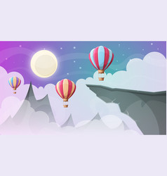 Landscape mountain air ballon vector