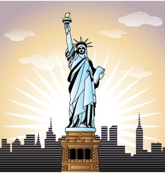 landscape with statue liberty in new york vector image