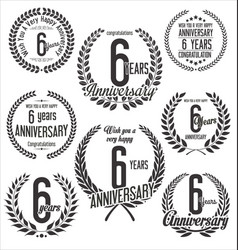 Laurel wreaths anniversary collection 6 years vector