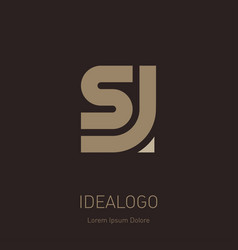 letter s and j logo design minimal monogram vector image