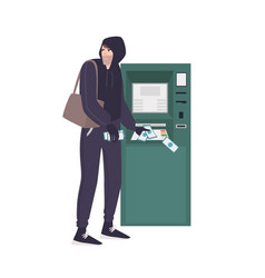 male thief stealing money banknotes from atm vector image