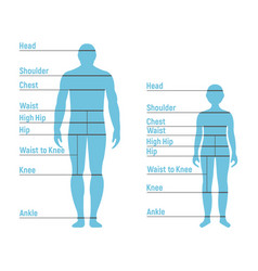 Man and boy size chart human front side vector