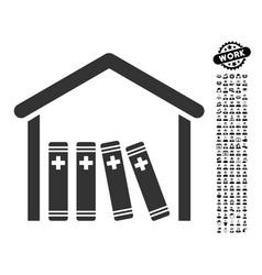 Medical library icon with men bonus vector