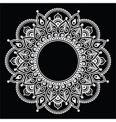 Mehndi lace indian henna white tattoo round design vector