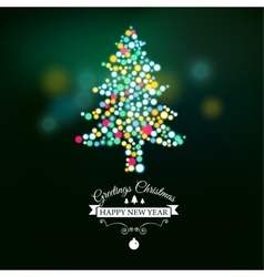 Merry Christmas postcard with designed text vector