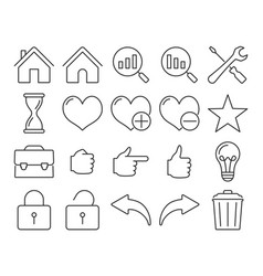 modern line style icons user interface set 2 vector image