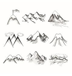 Mountain top icons vector image