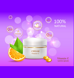 Natural cream with vitamins coenzyme energizer vector