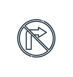 No turn right icon isolated on white background vector