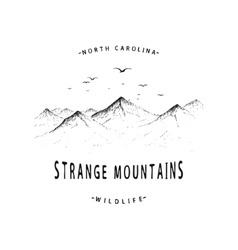 Old label with mountains vector image