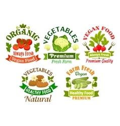 Organic vegan food emblems Vegetarian vegetables vector image