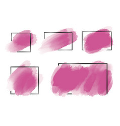 Pink watercolor brush with black line frame vector