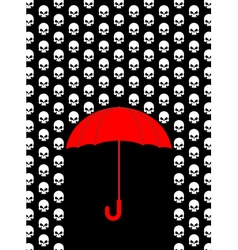 Rain of skulls Umbrella protects from head of vector image
