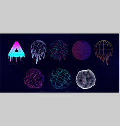 retro futuristic universal shapes - spheres vector image