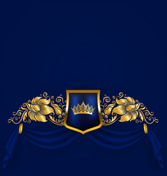 Royal background with ornament shield gold crown vector