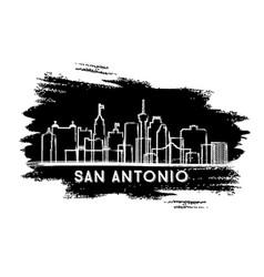 San antonio texas city skyline silhouette hand vector