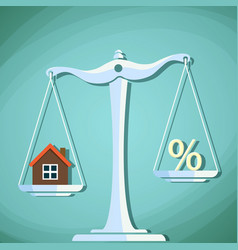 scales for weighing with a house and percent sign vector image