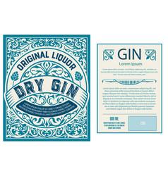 Set full vintage gin labels layered vector