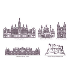 set isolated austria landmarks in thin line vector image