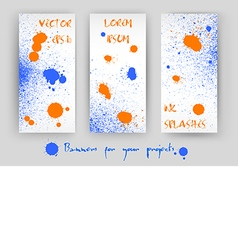 set of 3 banners with blue and orange splashes vector image
