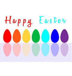 set of seven easter eggs painted in rainbow colors vector image