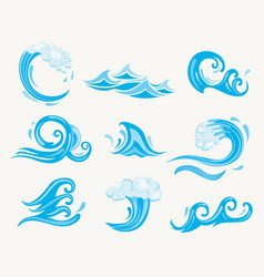 set sea waves vector image