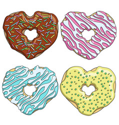 set tasty donuts in the form of a heart vector image