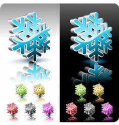 shiny 3d snowflake button vector image