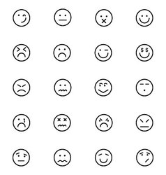 Smiley line icons 6 vector