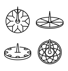 sundial icons set outline style vector image