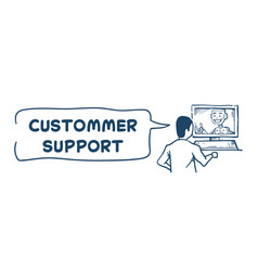 support center robot agent computer artificial vector image