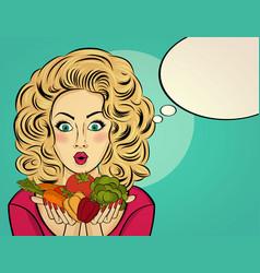 Surprised pop art woman that holds vegetables vector