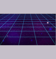 Synthwave 80s grid background retro futuristic vector