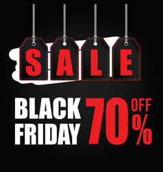 tag of black friday sale on black vector image