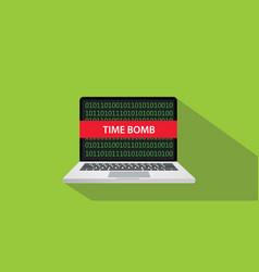 time bomb technique concept with laptop comuputer vector image