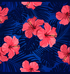 Tropical flowers and palm leaves on background vector