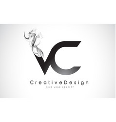 Vc letter logo design with black smoke vector