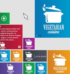 vegetarian cuisine icon sign buttons Modern vector image