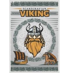 Viking Vintage Poster vector image
