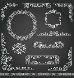 Vintage decorative frames design element set vector