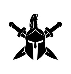 warrior helmet and swords vector image